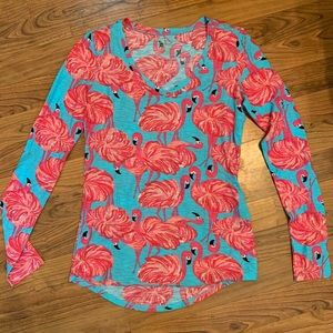 Lilly Pulitzer Amanda Long Sleeve Flamingo V-neck